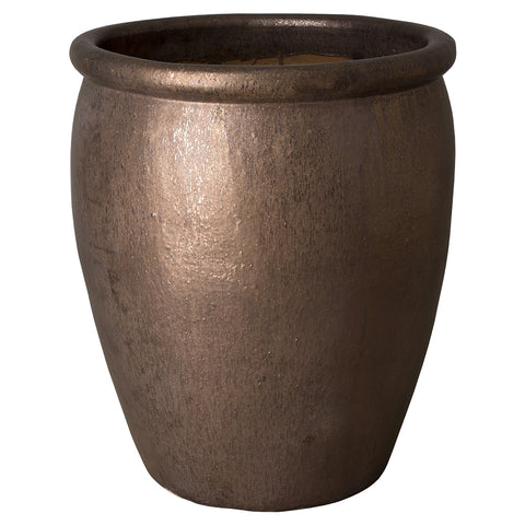 Large Round Planter with Rolled Edge – Metallic Brown