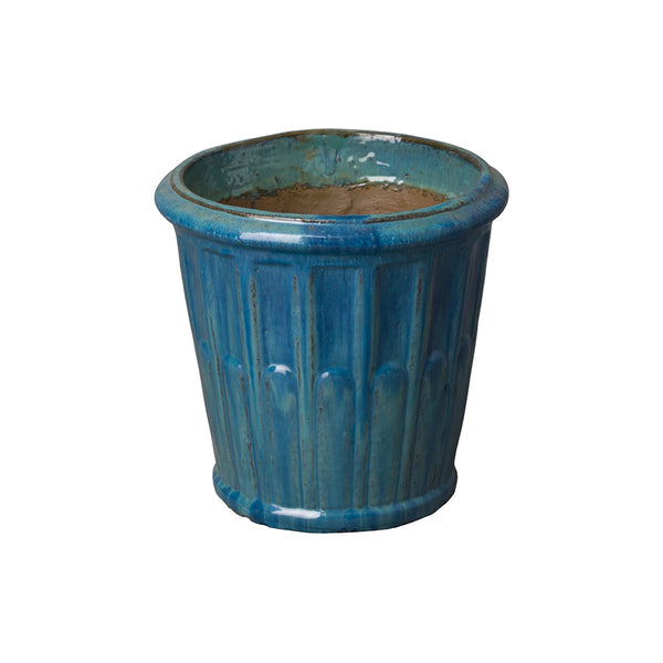 Small Round Fluted Planter with Rolled Edge – Teal