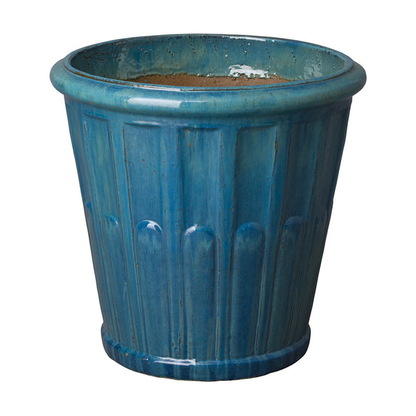 Large Round Fluted Planter with Rolled Edge – Teal