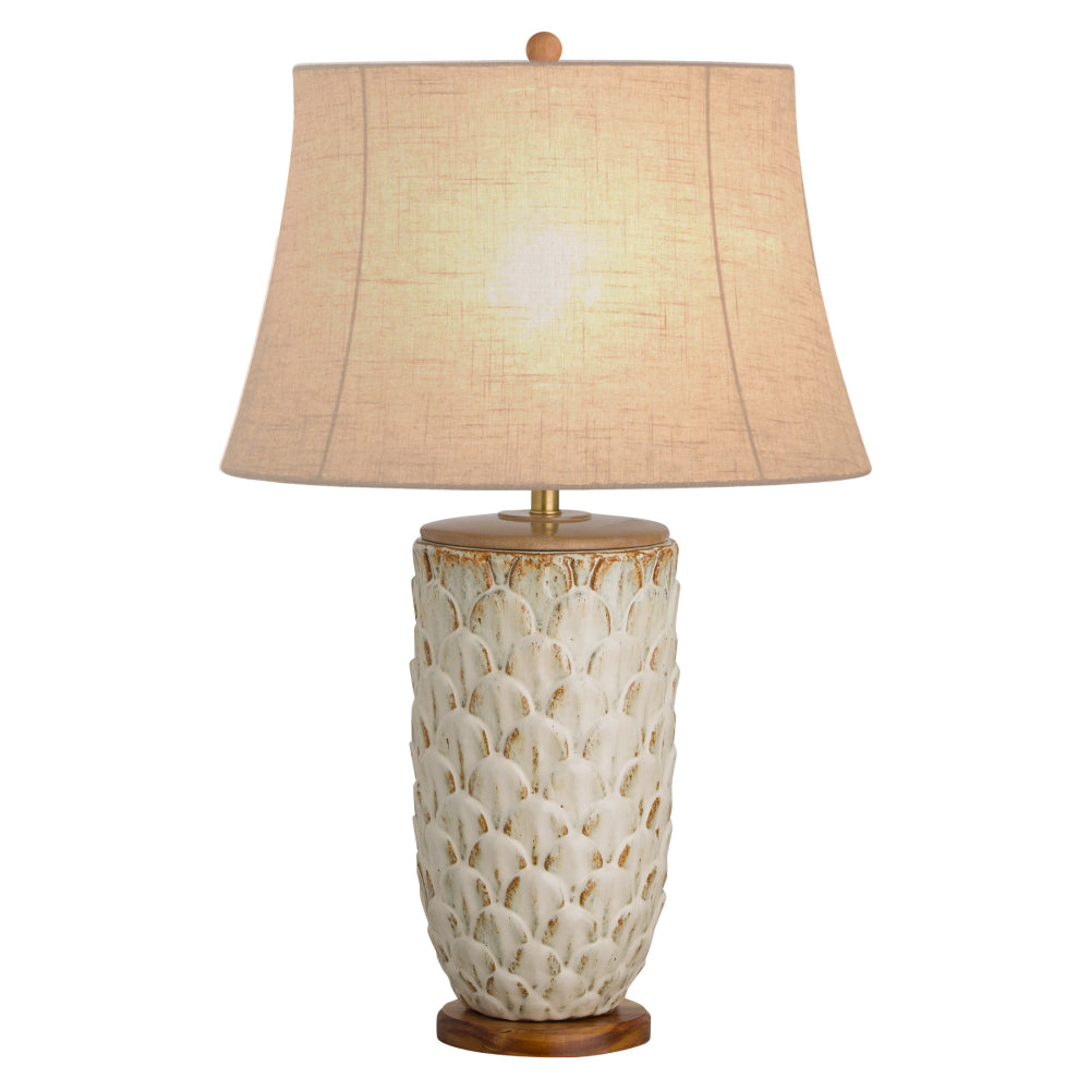Ceramic Pinecone Table Lamp with Jute Shade – Antique White Glaze