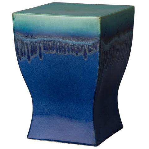 Square Chalice Garden Stool – Green & Blue