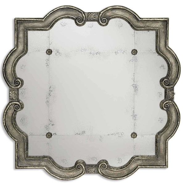 Oversized Antique Silver Leaf & Rosette Mirror