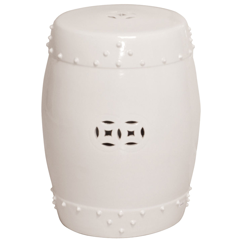 Large Prosperity Garden Stool - White
