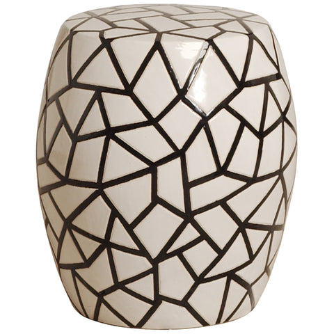 Ice Ray Garden Stool - Black and White