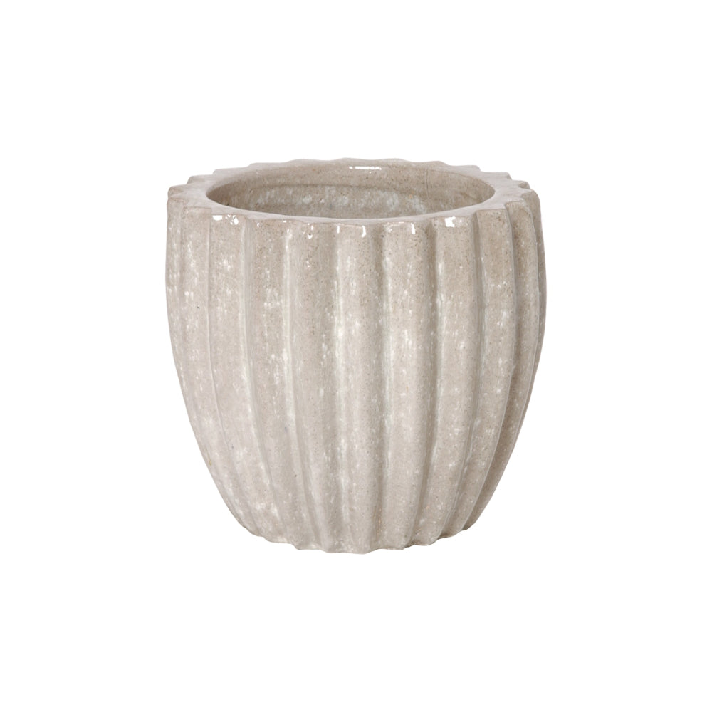 Ridged Round Ceramic Pot in Stone Gray – Small