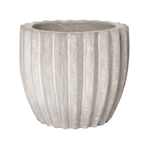 Ridged Round Ceramic Pot in Stone Gray – Large