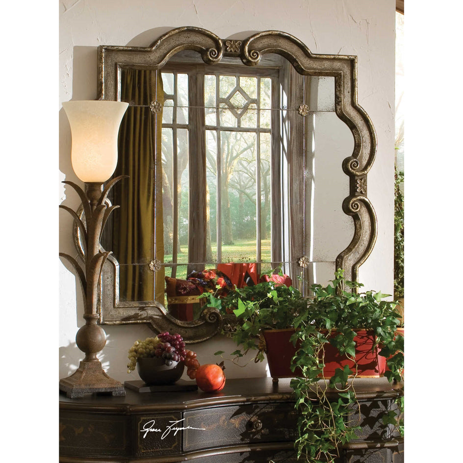 Silver Leaf & Rosette Antiqued Mirror
