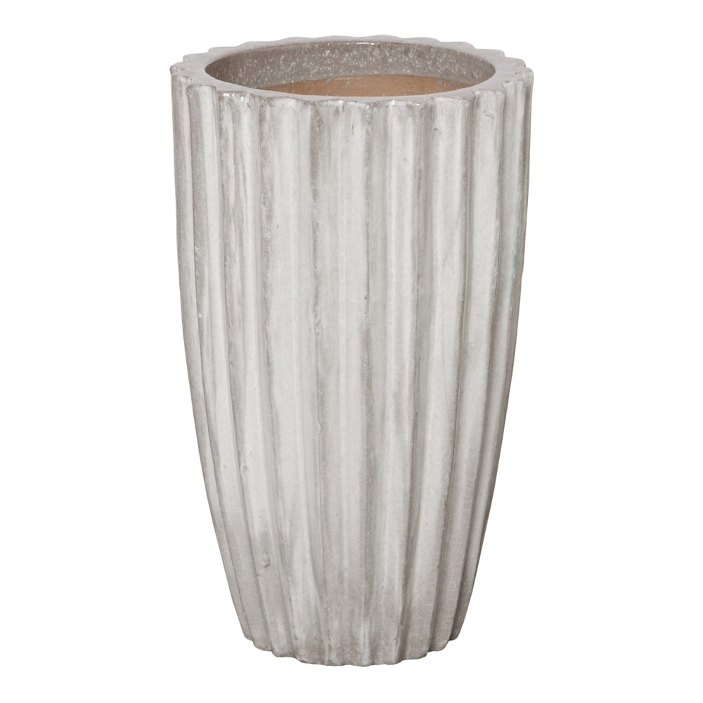 Ridged Round Ceramic Pot in Stone Gray – Tall