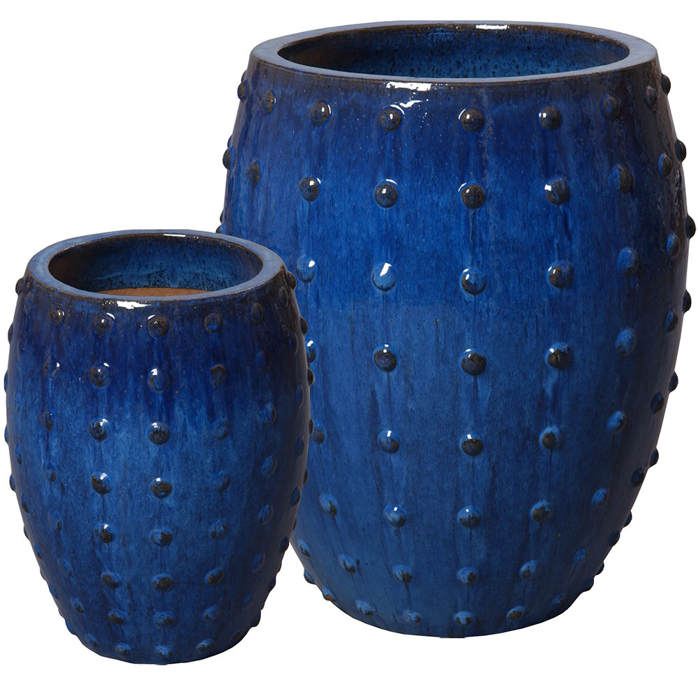 Studded Round Ceramic Planters - Royal Blue (set of 2)