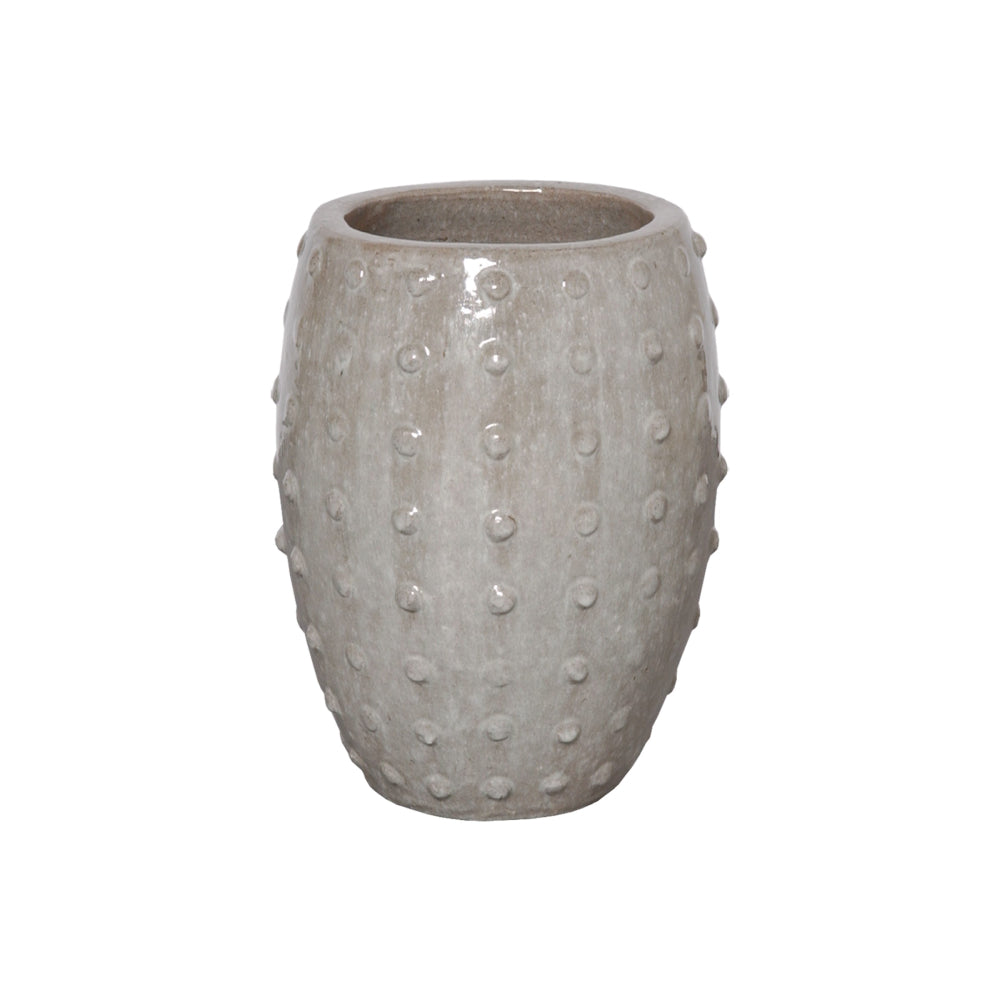 Studded Round Ceramic Pot Gray – Small