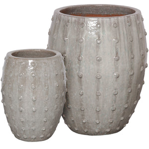 Studded Round Ceramic Planters - Grey (set of 2)