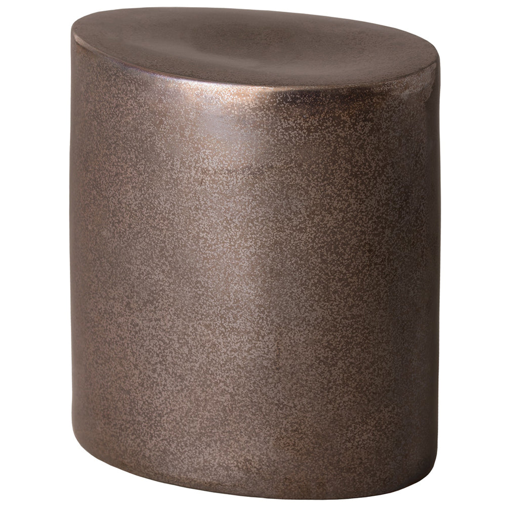 Oval Garden Stool - Gun Metal