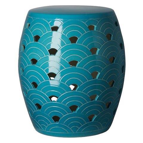 Wave Garden Stool - Turquoise