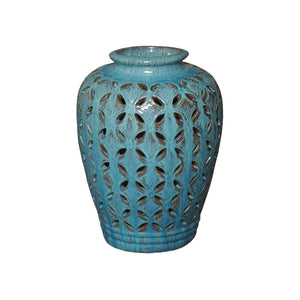 Large Ceramic Lattice Jar – Turquoise