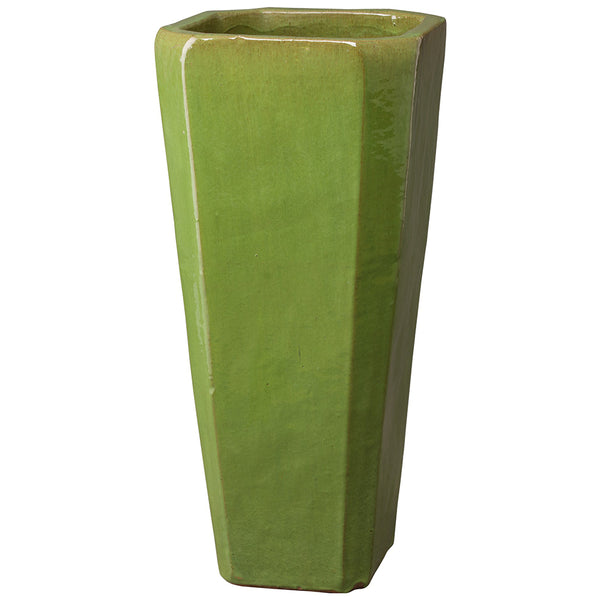 Tall Square Ceramic Planter - Lime Green