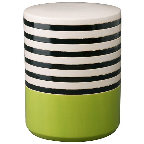 Striped Garden Stool - Green