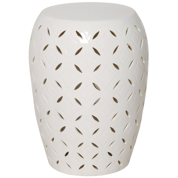 Large Lattice Garden Stool - White