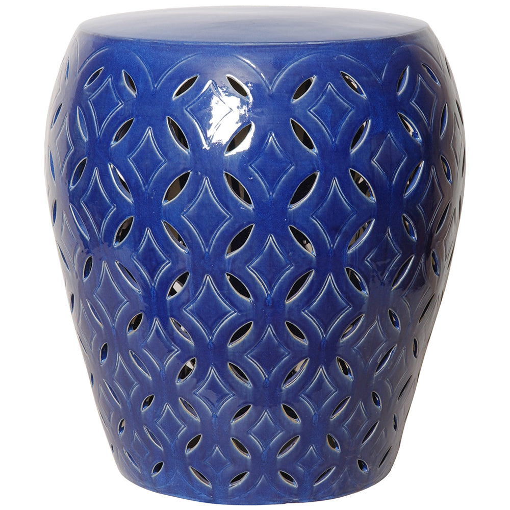 Oversized Lattice Garden Stool - Blue