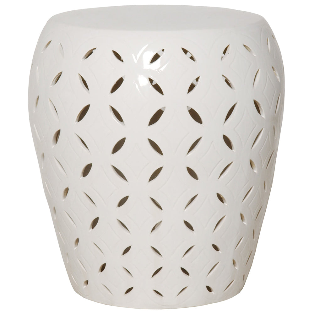 Oversized Lattice Garden Stool - White