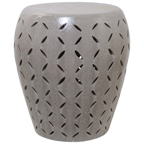 Oversized Lattice Garden Stool - Grey