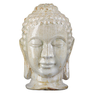 Large Buddha Head - Distressed White Glaze