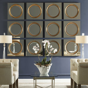 Framed Gold Circle Mirror
