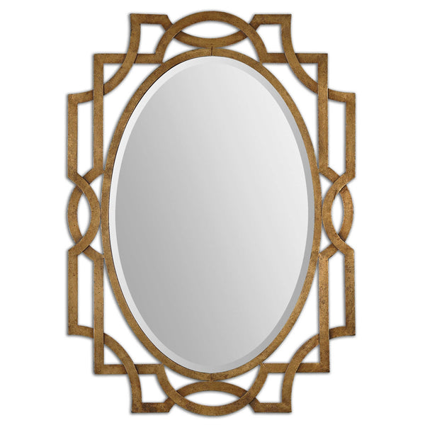 Gold Oval Trellis Mirror