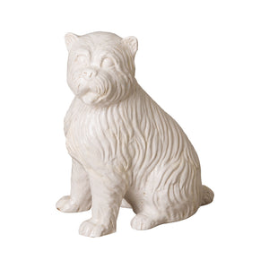 Decorative Ceramic Highland Terrier Sculpture – White Crackle