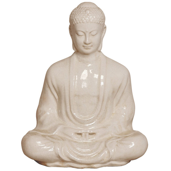 Large Meditating Buddha Statue - Cream