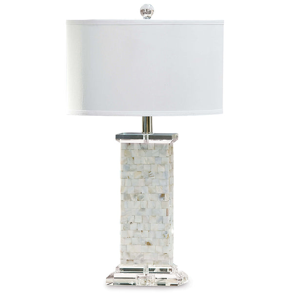 Regina Andrew Mother of Pearl Table Lamp with Crystal Base