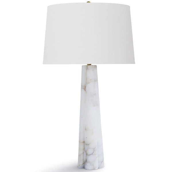 Regina Andrew Small Tapered Alabaster Table Lamp with Linen Shade