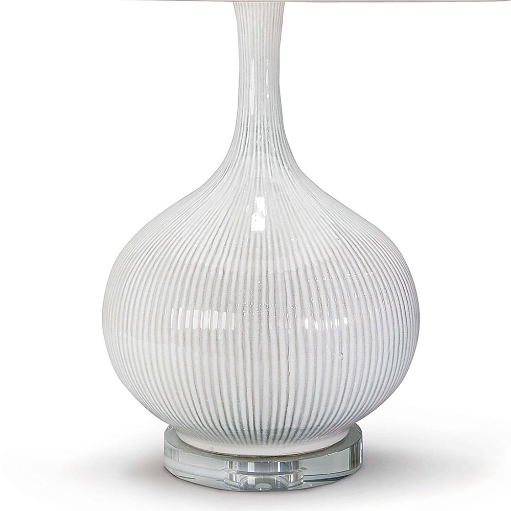 Regina Andrew White Ceramic Teardrop Table Lamp With Crystal Base