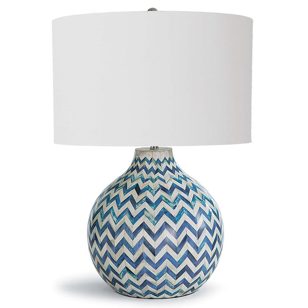 Regina Andrew Inlaid Bone Chevron Table Lamp with Linen Shade – Blue