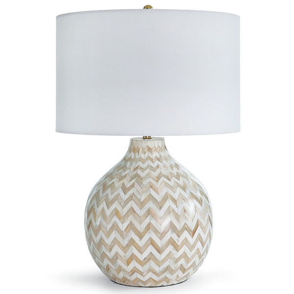 Regina Andrew Inlaid Bone Chevron Table Lamp with Linen Shade – Natural