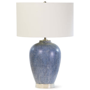 Regina Andrew Faux Shagreen Ceramic Table Lamp with Linen Shade – Indigo