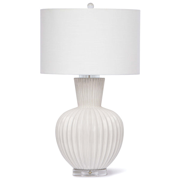 Regina Andrew Fluted Ceramic Table Lamp with Crystal Base