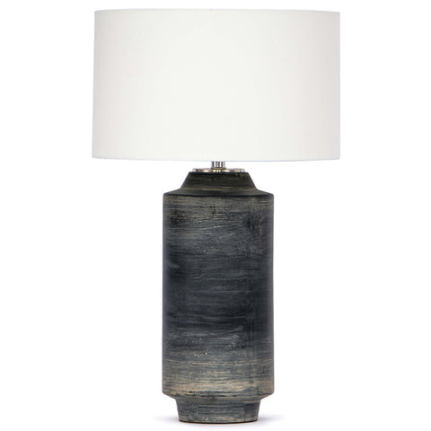 Regina Andrew Textured Ceramic Cylinder Table Lamp with Linen Shade