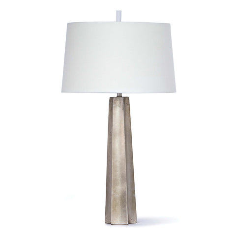 Regina Andrew Retro Tapered Table Lamp with Linen Shade – Silver Leaf