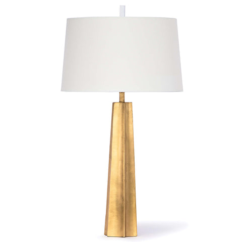 Regina Andrew Retro Tapered Table Lamp with Linen Shade – Gold Leaf