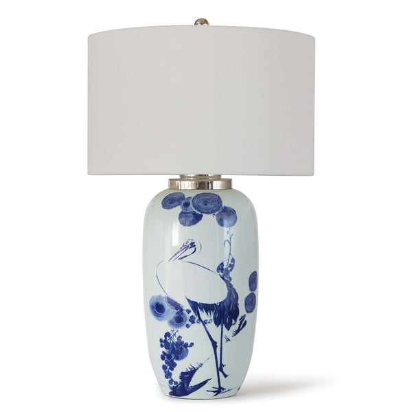 Regina Andrew Chinoiserie Ceramic Table Lamp with Linen Shade