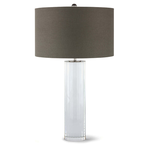 Regina Andrew Crystal Column Table Lamp with Grey Linen Shade