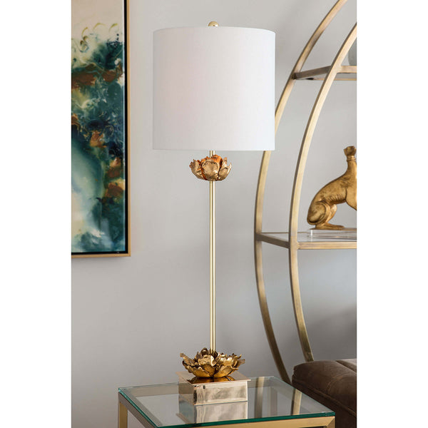Regina Andrew Gold Leafed Blossoms Buffet Table Lamp