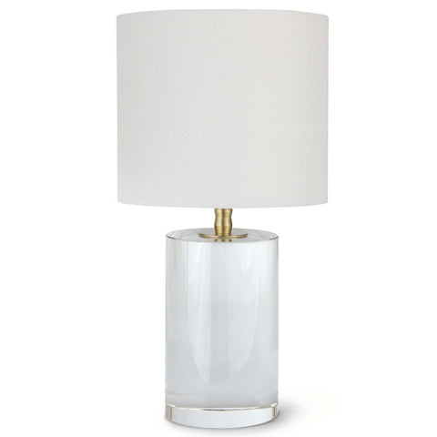 Regina Andrew Short Crystal Column Table Lamp with Natural Linen Shade