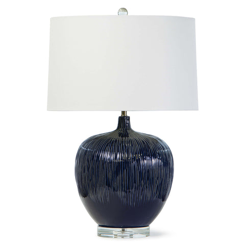 Regina Andrew Textured Blue Ceramic Table Lamp with Crystal Base