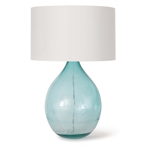 Regina Andrew Blue Seeded Glass Table Lamp with Linen Shade