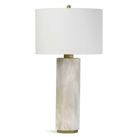 Regina Andrew Alabaster Column Table Tamp with Linen Shade