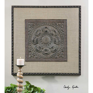 Stamped Metal & Burlap Wall Art