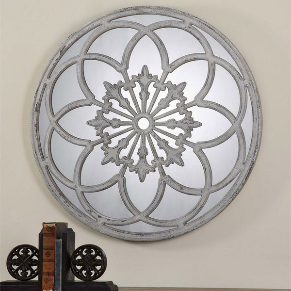 Conselyea Distressed Round Decorative Mirror