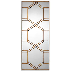 Hexagon Floor Mirror - Gold