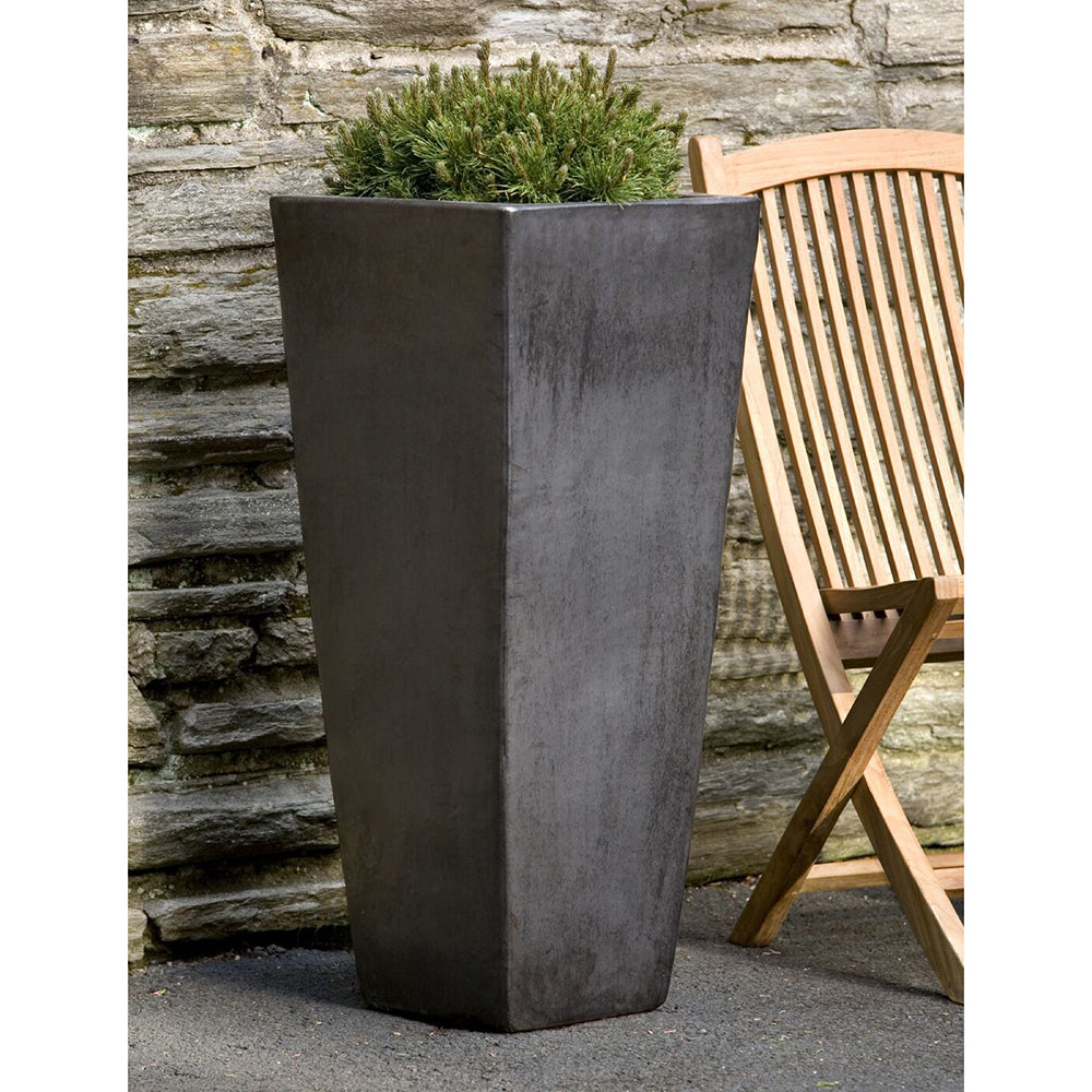 Tall Glazed Terra Cotta Tapered Square Planter – Graphite